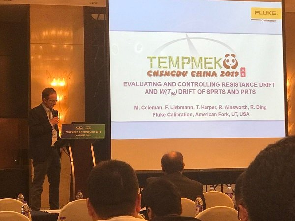 Mike Coleman of Fluke Calibration Presenting a Paper at Tempmeko 2019