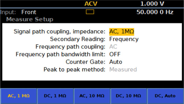 8588A AC voltage measurement settings, screen capture
