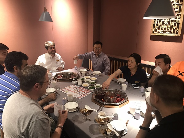 Fluke Calibration teams from China and US at dinner